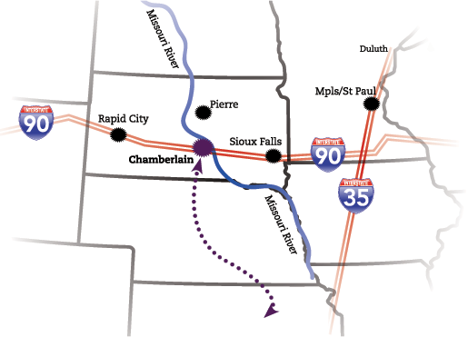 Map of chamberlains location on the way to the Black Hills