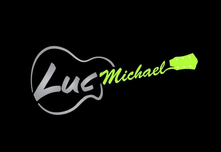 Luc Michael's name in the shape of a guitar
